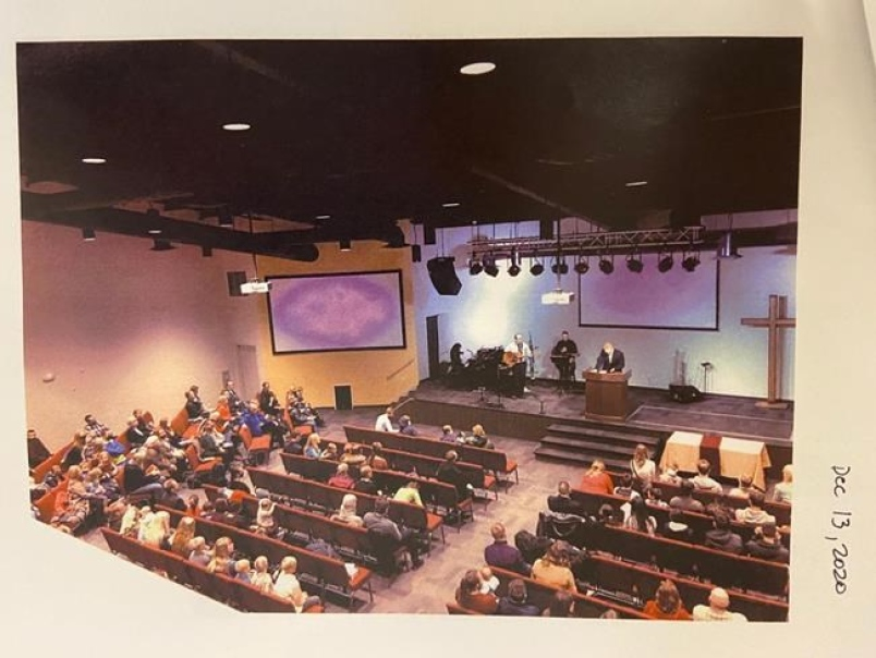 A church service that took place at GraceLife Church on Dec. 13, 2020, in Spruce Grove, Alta., is shown in this handout image taken by an inspector with Alberta Health Services and provided by Alberta's provincial court. THE CANADIAN PRESS/HO-Provincial Court of Alberta *